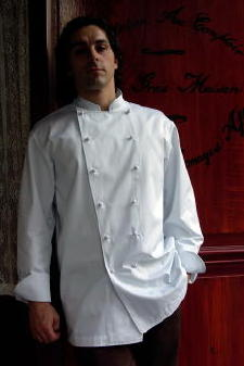 Chef Coat Style CBM100: Shown in White, 100% cotton Supima® gabardine, with hand tied knot buttons.