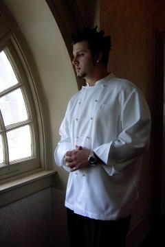 Chef Coat Style BSM100: Shown in White, 100% cotton gabardine, left chest tailored welt pocket & ball buttons.