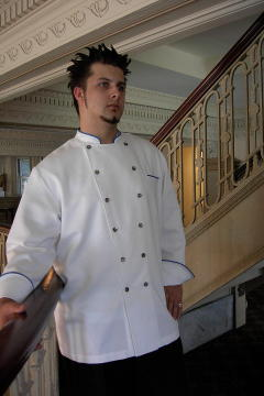 Chef Chef Coat Style BSM100: Shown in White, 100% cotton gabardine, left chest tailored welt pocket, with copen piping (collar, cuffs & pocket) & Abalone buttons.