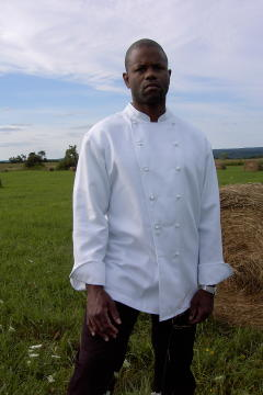 Chef Coat Style BSM100: Shown in White, 100% cotton gabardine, with ball buttons.
