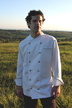 Chef Coat Style CBM101: Shown in White, 100% cotton Supima® gabardine, left chest tailored welt pocket, cinder piping (collar, cuffs & pocket) & concho buttons.