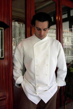 Chef Coat Style BSM101: Shown in White, 100% cotton gabardine, with faux mother-of-pearl buttons.