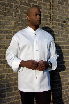 Chef Coat Style BSM103: Shown in White, 100% cotton gabardine, left chest patch pocket, & brass buttons.