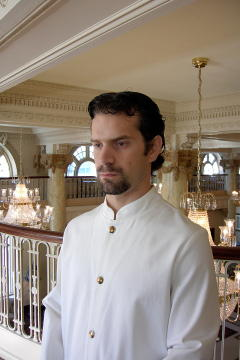 Chef Coat Style BSM104: Shown in white, 100% cotton gabardine, & brass on nickel buttons.