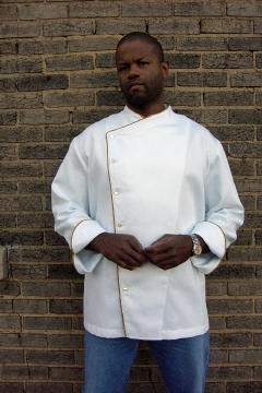 Chef Coat Style BSM105: Shown in white, 100% cotton petti point pique, cheviot gold piping (collar, front & cuffs) & faux mother-of-pearl buttons.