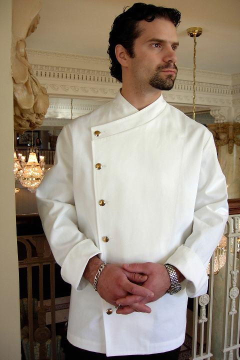 Chef Coat Style BSM105: Shown in white, 100% cotton gabardine with brass on nickel buttons.