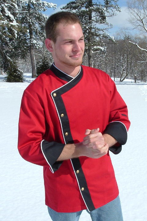 Chef Coat Style BSM105: Shown in Red & Black 100% cotton gabardine, with Snow White piping, left sleeve tailored welt pocket, & brass buttons.