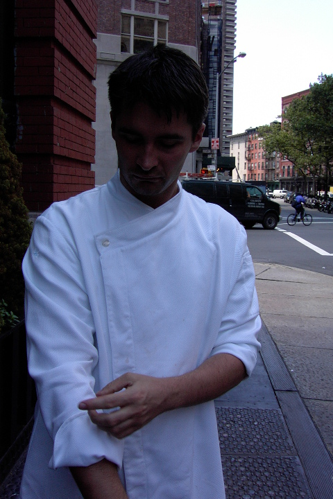 Chef Coat Style BSM105H: Shown in white, 100% cotton petti point pique, & one faux mother-of-pearl button.