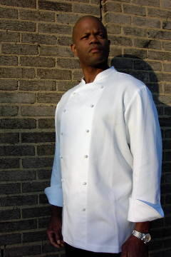 Chef Coat Style BSM108: Shown in white, 100% cotton petti point pique with hand tied knot buttons.