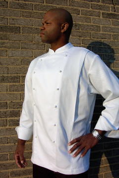 Chef Coat Style BSM108: Shown in white, 100% cotton petti point pique, kissing collar, front & back pleats & ball buttons.