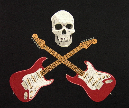 Embroidered Fender Stratocasters and skull– Jacket Back