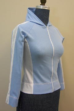 Custom made hooded sweat shirt shown in baby blue and white with full length zipper.