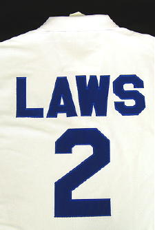 pro block letters numbers sewn with a satin stitch border 4 letters culp laws across shoulder blade 8 numbers below name