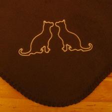 Navy Blue Embroidered Fleece Throw Blanket