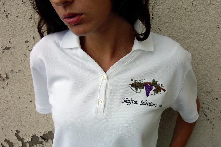 Polo Shirt: Personalized, custom polo shirt embroidered with Shiffrin Selections logo. White, D100W Devon & Jones Women's Pima Cotton Pique Short-Sleeve Polo Shirt.