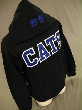 varsity letters sewn with a zigzag stitch border 4 letters cats across center front of hoodie embroidered paw prints on hood