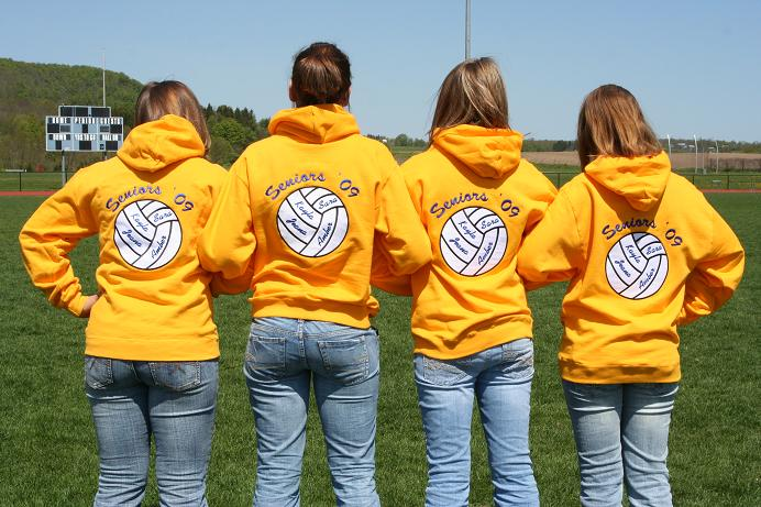 Hoodie: Custom hoodie (hoody, hooded sweatshirt), personalized with appliqu�d volley ball on back & embroidered volley ball on front. Gold, 82130 Fruit of the Loom 12 oz. Super Heavyweight 70/30 Hoodie