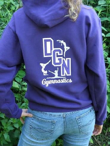 Hoodie: Custom hoodie (hoody, hooded sweatshirt), personalized with tackle twill Downers Grove North & embroidered mascot on the front, tackle twill DGN & embroidered gymnastics on the back. Deep Royal, F170 Hanes 10 oz. PrintProXP® 90/10 Pullover Hoodie.