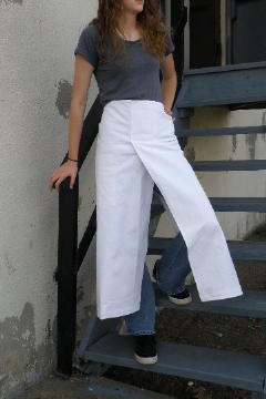 Split Front Apron shown in white 100% cotton 10oz. Bull Denim