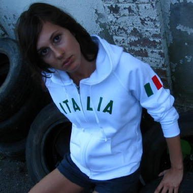 "Hoodie: Custom hoodie (hoody, hooded sweatshirt), personalized with heat applied ""ITALIA' on front and embroidered Italin flag on shoulder sleeve. White, W280 Hanes Ladies' 8 oz., 80/20 Fleece Full-Zip Hoodie."