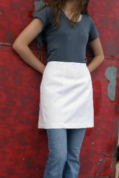 Women's Waist Apron style W700 shown in White 100% cotton 10 oz. Bull Denim.