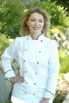 Women's Chef Coat Style BSW100: Shown in White, 100% cotton petti point pique, with date piping (collar & cuffs), & Tiger Shell buttons.