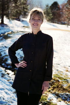 Women's Chef Coat Style BSW104: Shown in black, 100% cotton Gabardine, & metal on black horn horse head buttons.