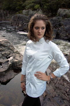 Women's Chef Coat Style CBW100: Shown in White, 100% cotton Supima® gabardine, & hand sewn ball buttons.