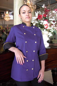 Women's Chef Coat Style BSW100: Shown in purple & black, 100% cotton Denim, Cheviot gold piping (collar & cuffs) & brass buttons.