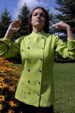 Women's Chef Coat Style BSW101: Shown in Kiwi, 100% cotton honeycomb pique, black piping (collar & cuffs) & pin shank buttons.