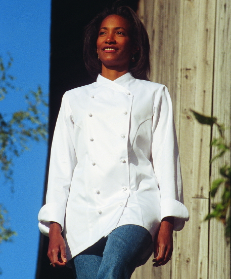 Women's Chef Coat Style BSW101: Shown in White, 100% cotton gabardine, & ball buttons.