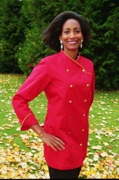 Women's Chef Coat Style BSW101: Shown in Red, 100% cotton denim, Cheviot Gold piping (collar, cuffs & pocket), Left chest tailored welt pocket, & brass buttons.
