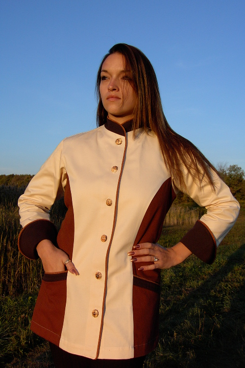 Women's Chef Coat Style BSW103: Shown in ivory, nutmeg & espresso, 100% cotton denim, date piping (collar, front, cuffs & pockets) two front hip tailored welt pockets, & burnt bone buttons.