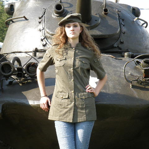 Women's Chef Coat Style BSW104: Shown in Jalapeno green @ Tiger Stripe Camo, 100% cotton denim and 100% combed cotton ripstop, 6 pockets, short sleeves, brass buttons & shown with a Beret.
