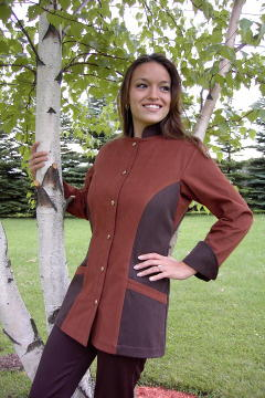 Women's Chef Coat Style BSW104: Shown in nutmeg & espresso, 100% cotton Denim, two front hip tailored welt pockets, & brass buttons.