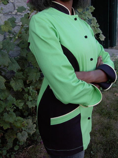 Women's Chef Coat Style BSW104: Shown in Lime & black, 100% cotton denim, piping (collar, pockets & cuffs) two front hip tailored welt pockets, & hand tied knot buttons.