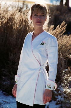 16bf0f15aba ... Women's Chef Coat Style BSW106: Shown in White, 100% cotton gabardine,  Pink ...