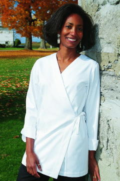 Women's Chef Coat Style CBW106: Shown in White, 100% cotton Supima® gabardine.